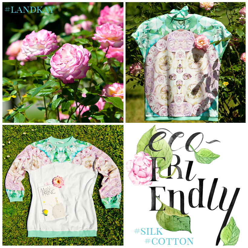 cotton top and sweatshirt with floral and gemstone print