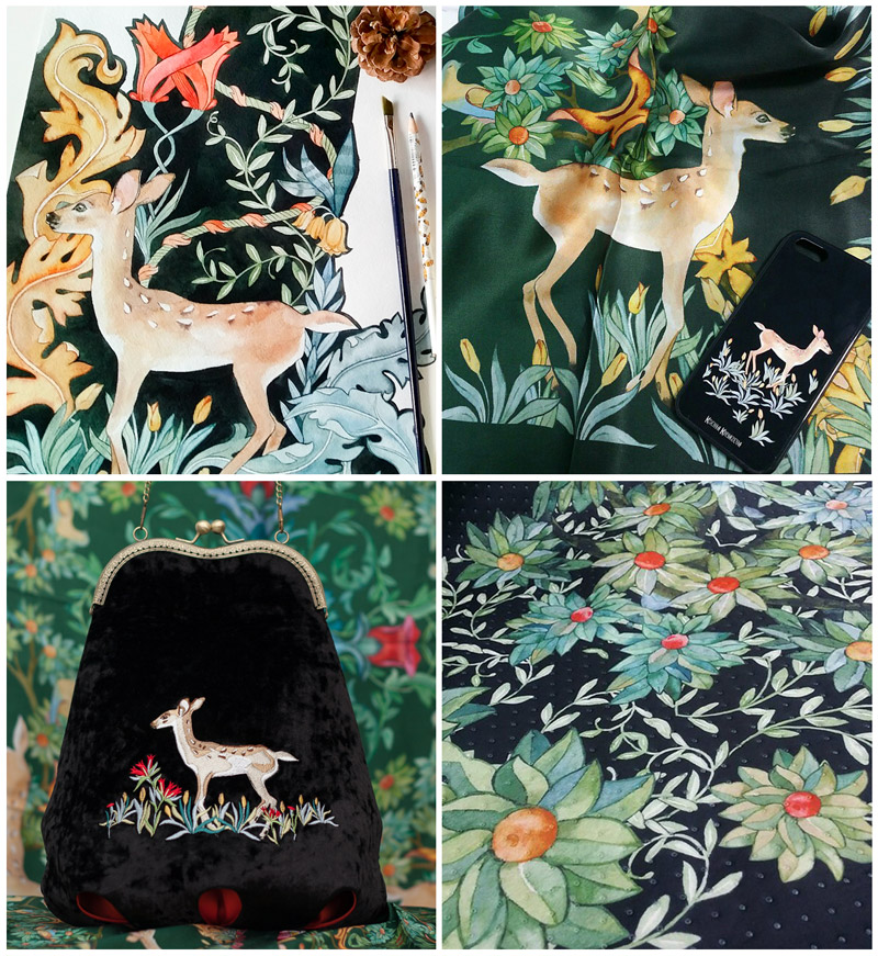 Watercolour floral and deer print